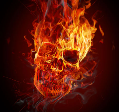 Photoshop flaming skull tutorial